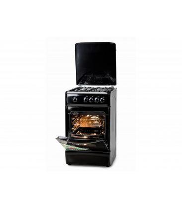 Aragaz LDK 5060 Black LPG, Gaz, 4 Arzatoare, Siguranta, Capac metalic, 50x60 cm, Negru