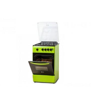 Aragaz LDK 5060 GRAI Green NG,  4 Arzatoare, Siguranta, Grill, Rotisor, Aprindere, Iluminare, Capac sticla, 50x60 cm, Verde