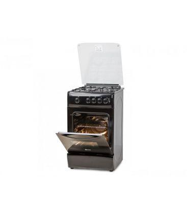 Aragaz LDK 5060 GRAI Black LPG, 4 Arzatoare, Siguranta, Grill, Rotisor, Aprindere, Iluminare, Capac sticla, 50x60 cm, Negru