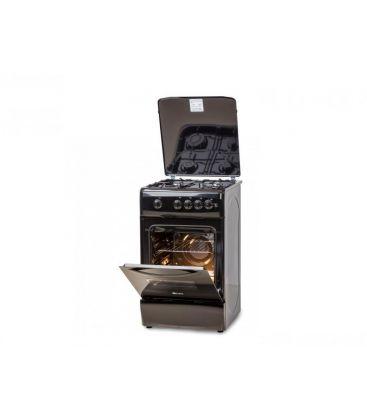 Aragaz LDK 5060 A Black LPG, Gaz, 4 Arzatoare, Siguranta, Aprindere electrica, Capac metalic, 50x60 cm, Negru