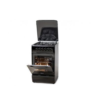 Aragaz LDK 5060 ECAI Black LPG, 4 Arzatoare, Siguranta, Cuptor electric, Aprindere, Iluminare, Capac metalic, 50x60 cm, Negru