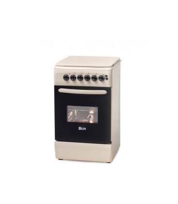Aragaz LDK 5060 ECAI Crem LPG, 4 Arzatoare, Siguranta, Cuptor electric, Aprindere, Iluminare, Capac metalic, 50x60 cm, Crem