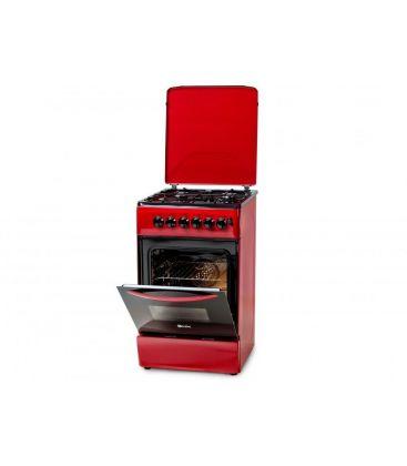 Aragaz LDK 5060 ECAI Red LPG, 4 Arzatoare, Siguranta, Cuptor electric, Aprindere, Iluminare, Capac metalic, 50x60 cm, Rosu