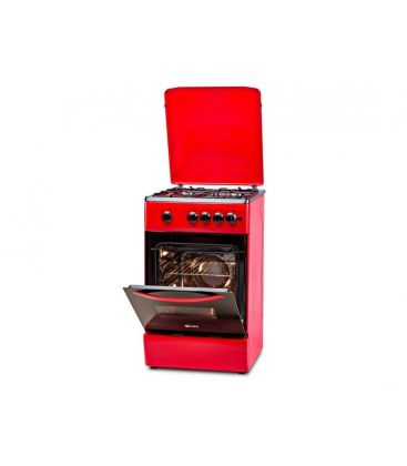 Aragaz LDK 5060 A RED FR, Gaz, 4 arzatoare, Capac metalic, Aprindere electrica, 50x60 cm, Rosu