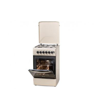 Aragaz LDK 5060 ECAI Crem NG, Capac metalic, Aprindere Electrica, Cuptor Electric, Iluminare, 3 ani garantie, Crem