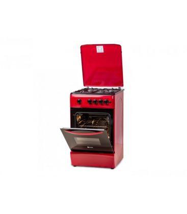 Aragaz LDK 5060 A RED NG, Gaz, 4 arzatoare, Capac metalic, Aprindere electrica, 50x60 cm, Rosu