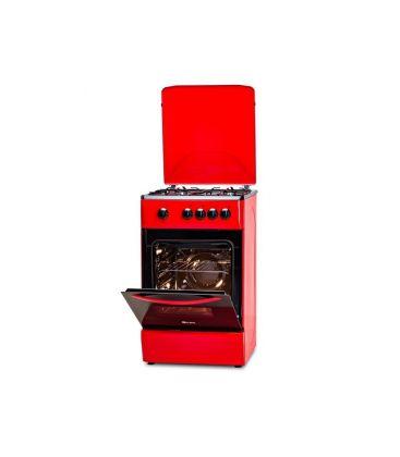 Aragaz LDK 5060 RED FR NG, 4 arzatoare, Capac metalic, 50x60 cm, 3 ani garantie, Rosu
