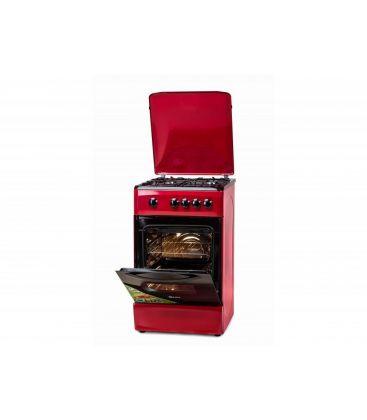 Aragaz LDK 5060 RED NG, 4 arzatoare, Capac metalic, 50x60 cm, 3 ani garantie, Rosu