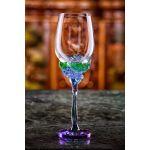 Pahar de vin decorativ cristal cu baza de trandafiri