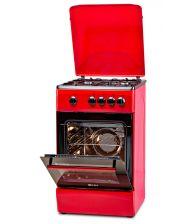 Aragaz LDK 5060 Red FR NG RMV, Gaz, 4 Arzatoare, Siguranta, Capac metalic, 50x60 cm, Rosu