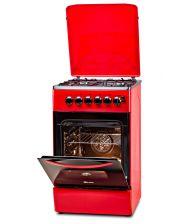 Aragaz LDK 5060 ECAI Red FR LPG RMV, 4 Arzatoare, Siguranta, Cuptor electric, Aprindere, Iluminare, Capac metalic,  Rosu