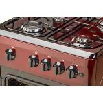 Aragaz LDK 5060 A Brick Red RMV, 4 arzatoare, Capac metalic, Aprindere electrica, 50x60 cm, Rosu inchis