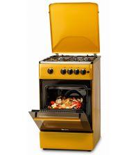 Aragaz LDK 5060 A Golden Yellow RMV NG, 4 arzatoare, Aprindere electrica, Siguranta, Capac metalic, Galben Auriu