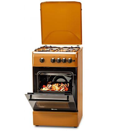 Aragaz LDK 5060 A Light Brown RMV, 4 arzatoare, Capac metalic, Aprindere electrica, 50x60 cm, Maro