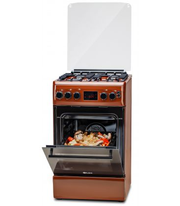 Aragaz LDK 5060 D ECAI BR NG, Cuptor electric convectie, Display LCD cu touch, Aprindere,  Termostat, Timer, 6 functii, Inox