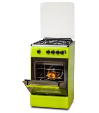 Aragaz LDK 5060 GRAI Green NG RMV, 4 Arzatoare, Siguranta, Grill, Rotisor, Aprindere, Iluminare, Capac sticla, 50x60 cm, Verde