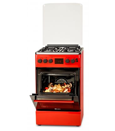 Aragaz LDK 5060 D ECAI RED FR NG, Cuptor electric convectie, Display LCD cu touch, Aprindere,  Termostat, Timer, 6 functii, Rosu