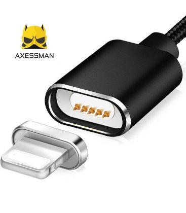 Cablu de date magnetic Axessman pentru iPhone, Mufa Lightning, Negru