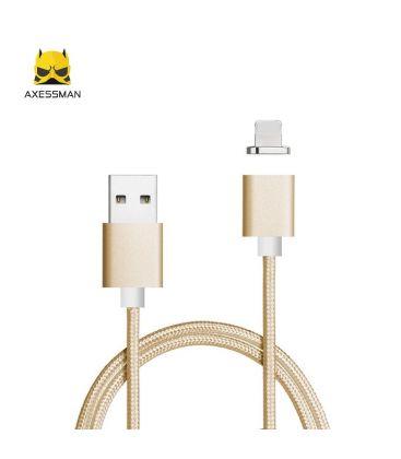 Cablu de date magnetic Axessman pentru iPhone, Mufa Lightning, Gold