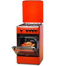 Aragaz LDK 5060 A Brick Red RMV, Gaz, 4 Arzatoare, Siguranta, Aprindere electrica, Capac metalic, 50x60 cm, Caramiziu