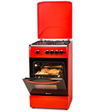 Aragaz LDK 5060 A Brick Red NG, 4 Arzatoare, Capac metalic, Siguranta, Aprindere electrica, 50x60 cm, Caramiziu