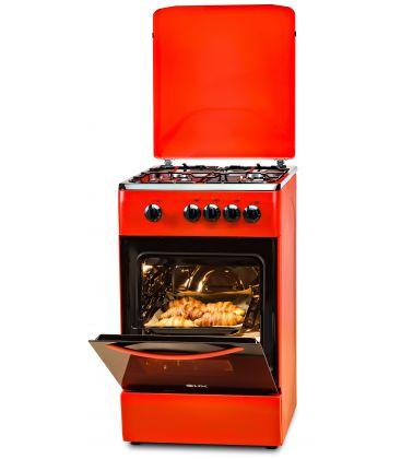 Aragaz LDK 5060 Brick Red, Gaz, 4 arzatoare, Capac metalic, Siguranta, 50x60 cm, Rosu inchis