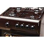 Aragaz LDK 5060 Dark Brown, Gaz, 4 arzatoare, Capac metalic, Siguranta, 50x60 cm, Maro inchis