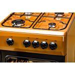 Aragaz LDK 5060 Light Brown, Gaz, 4 arzatoare, Capac metalic, Siguranta, 50x60 cm, Maro inchis