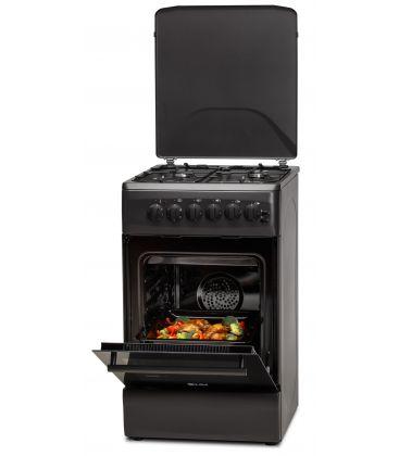 Aragaz LDK 5060 ECAI MAT BLACK, 4 Arzatoare, Siguranta, Cuptor electric, Aprindere, Iluminare, Capac metalic, 50x60 cm, Negru