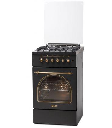 Aragaz LDK 5060 ECAI MAT BLACK RUSTIC LPG, 4 Arzatoare, Siguranta, Cuptor electric, Aprindere, Iluminare, Capac metalic, Negru