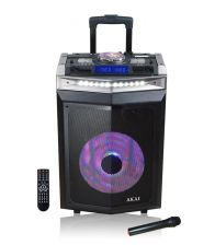 Boxa activa portabila AKAI DJ-6112BT, 120 W, DJ mixer, Bluetooth, USB, Radio, Microfon wireless, Mufa intrare chitara