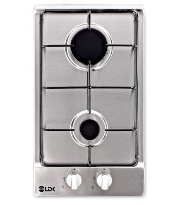 Plita incorporabila LDK  JZ2-ZONE 30 BK, Gaz, 2 arzatoare, Aprindere electrica, Siguranta, Gratar fonta, Negru