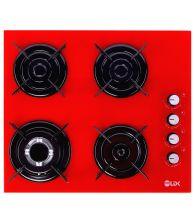 Plita incorporabila LDK YD640VE40K, Wok, Gaz, 4 arzatoare, Aprindere electrica, Siguranta, 3 ani garantie, 60 cm, Rosu