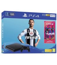 Consola Sony PlayStation 4 Slim 500 GB Black cu joc FIFA 19 inclus