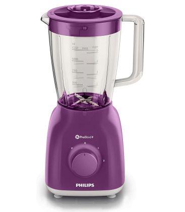 Blender Philips Daily Collection HR2105/60, Putere 400 W, Capacitate 1.25 l, 2 Viteze, Functie impuls, Violet