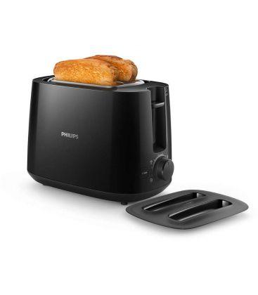 Prajitor de paine Philips Daily Collection HD2582/90, Putere 900 W, 2 felii, Oprire automată, Dezghetare, Negru