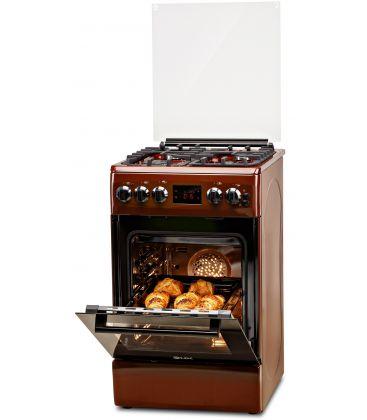 Aragaz LDK 5060 D ECAI BR NG, Cuptor electric convectie, Display LCD, Aprindere,  Termostat, Timer, 6 functii, Maro