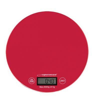 Cantar de bucatarie ESPERANZA EKS003R, Capacitate 5 Kg, Afisaj LCD, Rosu