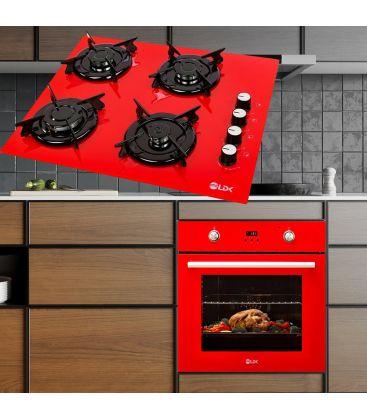 Plita incorporabila LDK YD640RE40K, 4 arzatoare, Aprindere electrica, Rosu + Cuptor LDK A69EVRD001, Digital, Autocuratare, Rosu