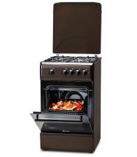 Aragaz LDK 5060 A Dark Brown RMV, 4 arzatoare, Capac metalic, Aprindere electrica, 50x60 cm, Maro inchis