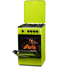 Aragaz LDK 5060 GREEN RMV NG, 4 arzatoare, Siguranta, Capac metalic, 50x60 cm, Verde