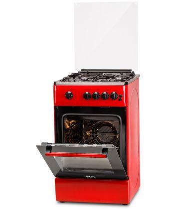 Aragaz LDK 5060 GRAI Red NG, 4 Arzatoare, Siguranta, Grill, Rotisor, Aprindere, Iluminare, Capac sticla, 50 cm, Rosu