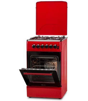 Aragaz LDK 5060 ECAI Red NG, 4 Arzatoare, Siguranta, Cuptor electric, Aprindere, Iluminare, Capac metalic, 50x60 cm, Rosu
