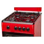 Aragaz LDK 5060 Red RMV NG, Gaz, 4 Arzatoare, Siguranta, Capac metalic, 50x60 cm, Rosu