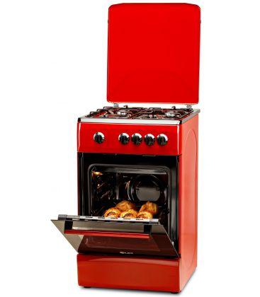 Aragaz LDK 5060 Red FR NG, Gaz, 4 Arzatoare, Siguranta, Capac metalic, 50x60 cm, Rosu