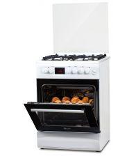 Aragaz LDK 6060 D ECAI WH RMV LPG, Cuptor electric convectie, Display LCD, Aprindere,  Termostat, Timer, 6 functii, Alb