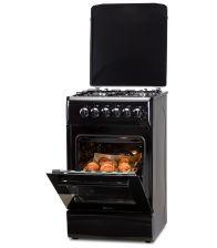 Aragaz LDK 5060 ECAI Black RMV LPG, 4 Arzatoare, Siguranta, Cuptor electric, Aprindere, Iluminare, Capac metalic, Negru