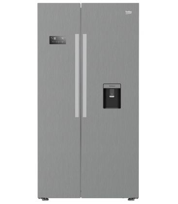 Side by side Beko GN163320PT, Clasa A++, Capacitate 554 l, NeoFrost, Display Touch, H 179, Argintiu