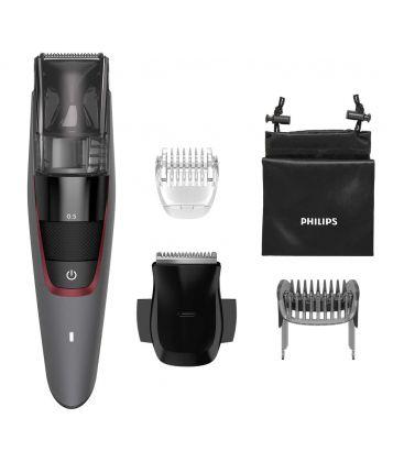 Aparat de tuns barba cu aspirare Philips Beardtrimmer BT7510, Lame metalice, 20 trepte, Afisaj LED, Gri