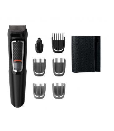Aparat de tuns 7 in 1 Philips Multigroom MG3720/15, Acumulator, Autoascutire 2 piepteni barba, 1 pieptene par, Negru